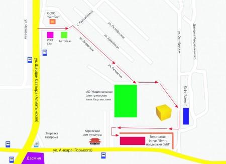 """Схема проезда до ОФ  """"Центр Поддержки СМИ """" на время реконструкции улицы Анкара."""